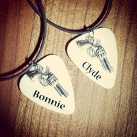 Bonnie and Clyde pistol gun silver charm guitar pick matching necklaces for couples or best friends his her Anniversary Valentine's Day gift