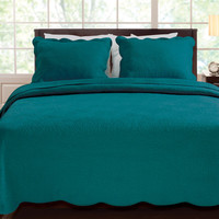 Full / Queen Cotton Quilt Set Floral Pattern Scalloped in Teal