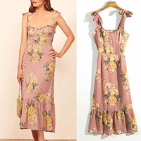 2020 new women's retro floral sexy lace lace slim dress
