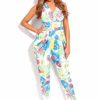 YELLOW MULTI FLORAL PRINT PLEATED DETAIL BAGGY HIP JUMPSUIT