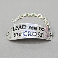 Lead Me To The Cross Silver Hammered Bracelet - BRC709SI