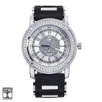 Jewelry Kay style Iced Out Silver Toned Silicone Band Men's Women's Techno Pave Watches 8153 SBK