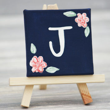 """Mini Canvas and Easel, Navy with White Initial / Personalized Stocking Stuffer / 3"""" x 3"""" Canvas"""
