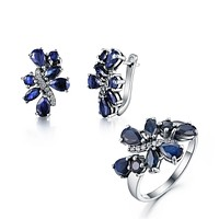 Sapphire Rings and Earrings Jewelry Set
