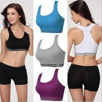Athletic Sports Bras Stretch Yoga Workout Tank Top Seamless Racerback Fitness = 1931817668