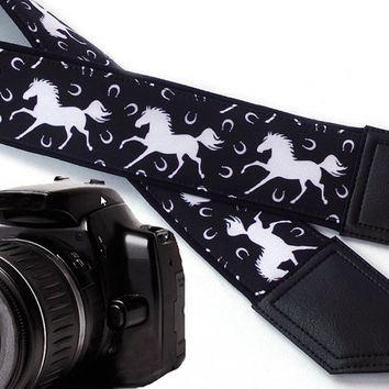 White Horses camera strap. Black and white. DSLR / SLR Camera accessories. Strap for nikon, canon, sony, panasonic, and other cameras