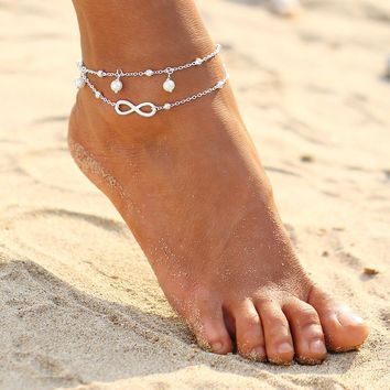ZSY406160 Fashion Jewelry ~Pair Imitation Pearls Barefoot Sandals Beach Anklets W Toe Ring White