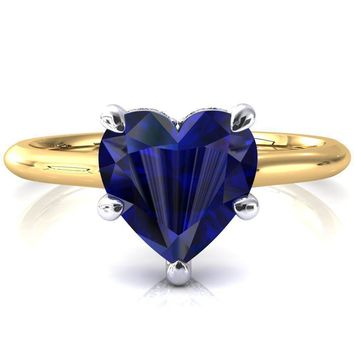 Secret Heart Blue Sapphire 5 Prong Floating Halo Engagement Ring