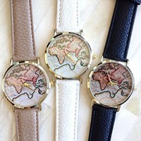 3pcs Women's Geneva Style Leather Watch the Map Watch with Leather Band + Watch Cloth