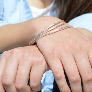 Thin Raw Silk Sterling Silver Bangles