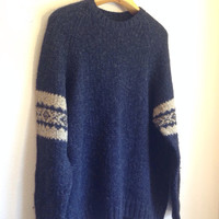 Navy Blue Beige Oversized Cozy Hipster Sweater