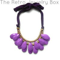 Ready To ship Purple Drop necklace Antropologie inspired bib statement necklace Christmas gift Large necklace