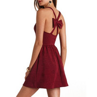 FLORAL EMBOSSED BOW-BACK SKATER DRESS