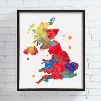 United Kingdom Map, United Kingdom Wall Art, Framed Art, Custom Color, Countries, Travel Art, Watercolor Map, Map Art Print, Gift Idea