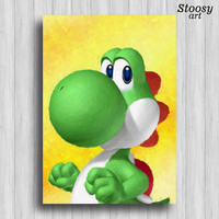 yoshi print super mario decor nintendo painting mario wall art