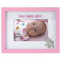 Malden Our Baby Girl Elephant Picture Frame, Grey