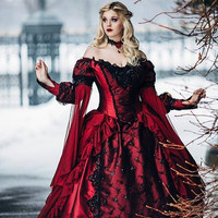 Gothic Sleeping Beauty Princess Medieval Red and Black Wedding Dresses Ball Gown Long Sleeves Embroidery Victorian Bridal Gowns