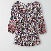 AEO Printed Button Front Romper, Navy