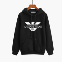 """Armani"" Unisex Couple Sport Casual Logo Letter Print Thickened Long Sleeve Hooded Sweater Sweatshirt Tops"
