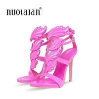 Brand women pumps metallic winged gladiator high heel pumps shoes for women 12CM high heels sandals party wedding shoes woman