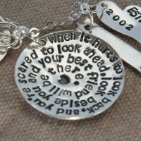 Best Friends Necklace, hand stamped quote, Friendship Gift Idea - pearl - birthstone - quote 11