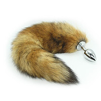 Animal Fetish Fantasy Steel Real Fox Tail Plug For Women Couple Men Fairy Cosplay Buttplug Sex Toys Drop Shipping