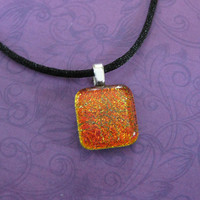 Small Orange Pendant, Sparkly Dichroic Necklace - Rusty - 4434-3