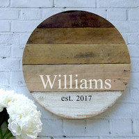 Rustic Farmhouse Style Reclaimed Wood Round Monogram Sign - 17.5 Inches
