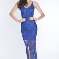 Royal Blue Lace Overlay Slit Front Sexy Maxi Dress