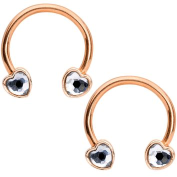 "14 Gauge 9/16"" Clear Gem Rose Gold Tone Heart Horseshoe Nipple Ring Set"