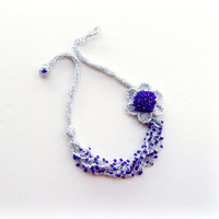 Crochet Necklace - Statement Necklace - Beaded Necklace - Silver Necklace - Shimmer Necklace -Multi Strand Necklace -Silver Purple Necklace