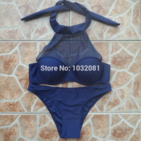 Blue mesh high neck halter bra bikini push up swimwear women sexy swimsuit bathing suit beachwear bather maillot de bain V157B