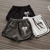 Chic Stussy Letter Printed Sports Shorts Pants F