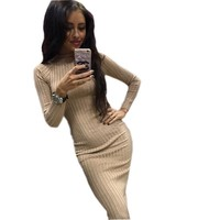 Women's Autumn Spring Dresses Robe Sexy Black Midi Sheath Slim Bodycon Dress Long Sleeve Elegant Package Hip Dress Gv424 designer clothes