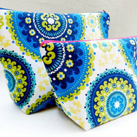 Blue, Olive and Yellow Print Medium Travel Makeup/Cosmetics Bag with Matching Large Toiletries Travel Set with Dark Blue & Fuchsia Zipper