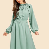 Tie Neck Lantern Sleeve Pleated Dress