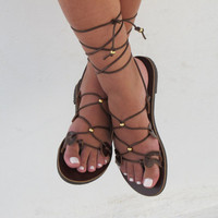 Leather Gladiator Sandals for Women in brown, handmade, Unique design, DANAE 02