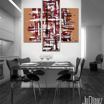 "Original abstract painting. 38x36"" 3 piece canvas art. Large painting. Brown and red. Modern wall art with warm colors. Brown painting."