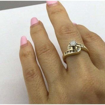 1/2 Carat Engagement Ring 14K Yellow Gold 0.51 ctw Halo Style 6 Prong High Setting