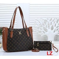 Louis Vuitton LV Women Fashion Leather Tote Crossbody Satchel Set Two Piece