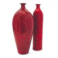 8 in. Oval Red Crackle Bottle | BlueRoomPottery - Ceramics & Pottery on ArtFire