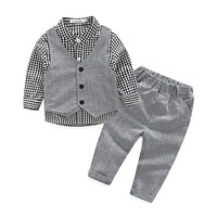 Baby Boy's clothing set Handsome Baby child suit set cotton Children long sleeve dress shirt+trousers +vest