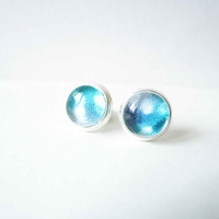 Shades Of Blue Stud Earrings - Glass Cabochons Post Earrings - Glass Dome Stud