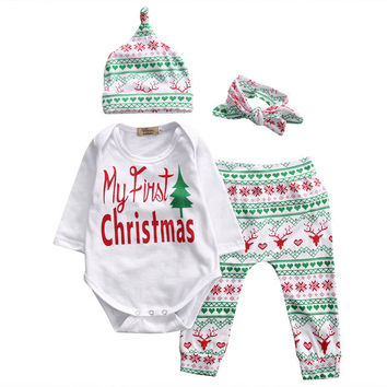 4 Pcs  Infant Babies Long Sleeve Onesuit+Pants+Hat+Headband Xmas Outfits Newborn Kids Baby Girl Boy Letter Christmas Outfit Set