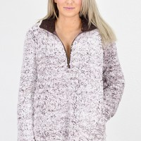 Frosted Sherpa Quarter Zip Pullover {Mocha} - Size 1XL