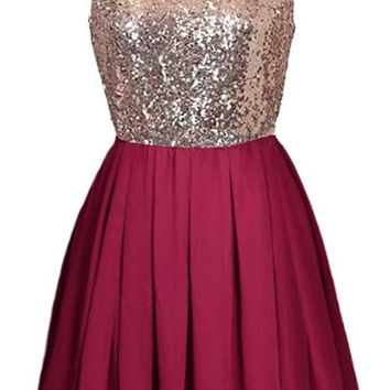Red Homecoming Dress,  A-Line Sequins Homecoming Dress, Cute Short Prom Dress