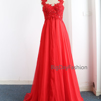 Red Prom Dress, Long Chiffon Lace Formal Dresses, Wedding Party Dress, Straps Lace Chiffon Floor Length Gown, Prom Gown