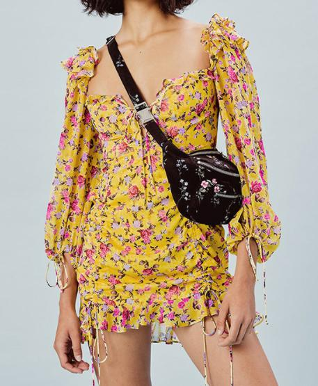 Image of New autumn and winter long-sleeved dress double drawstring printed bubble sleeve bag hip skirt
