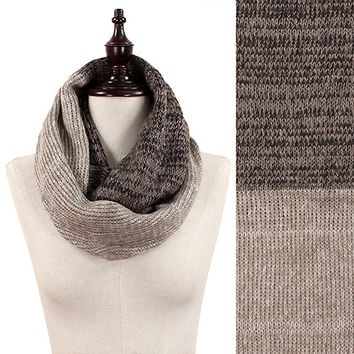 Two-Toned Marled Yarn Knit Infinity Scarf
