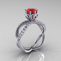 14k white gold ruby diamond unusual unique vine engagement ring, anniversary ring, wedding ring R279-WGDR